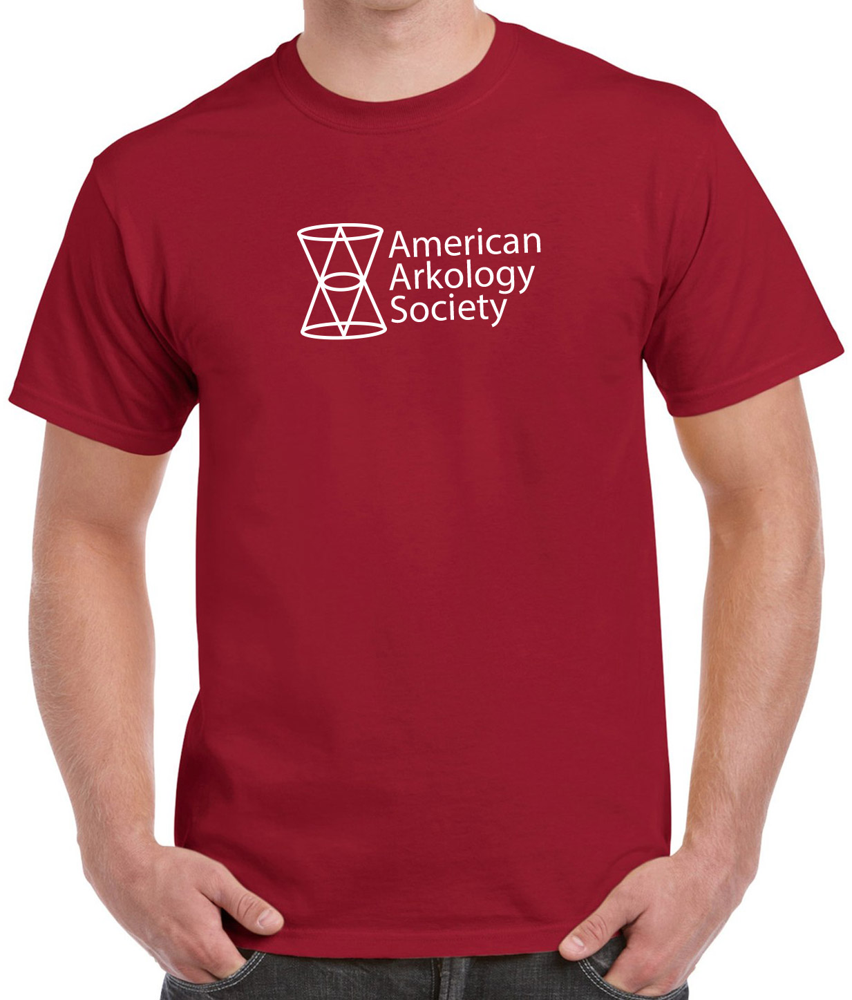 American Arkology Society logo t-shirt in cardinal red. Available only in the AAS online shop.