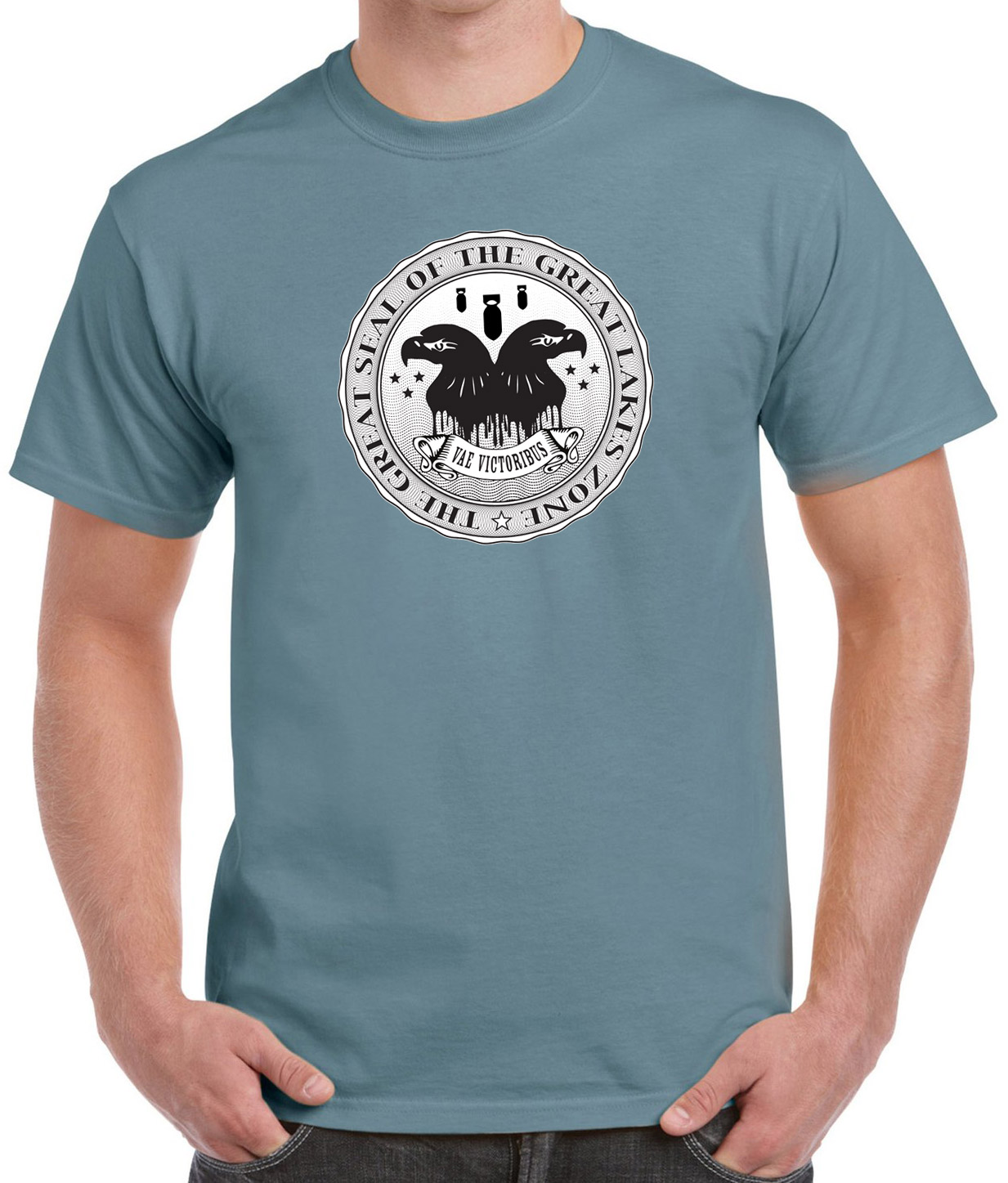 Stone blue t-shirt with Great Seal of the Great Lakes Zone.