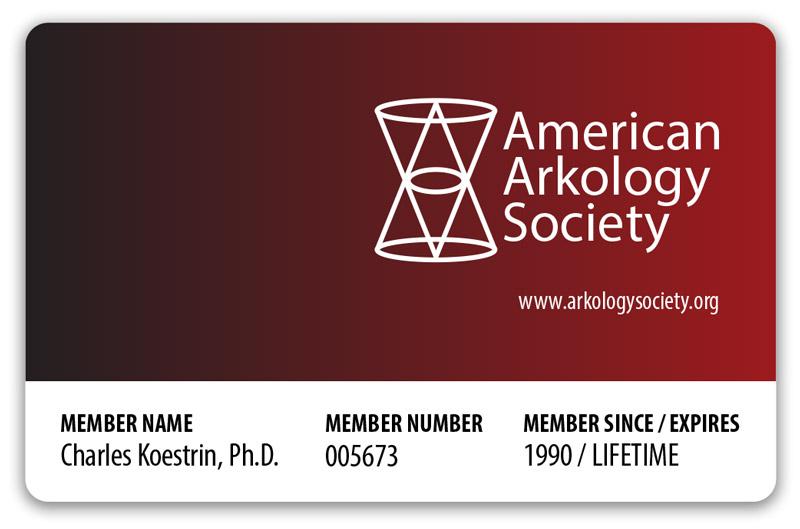 American Arkology Society lifetime membership card.