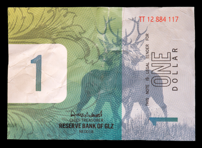 A $1 bill found in the Jarndyke Ark