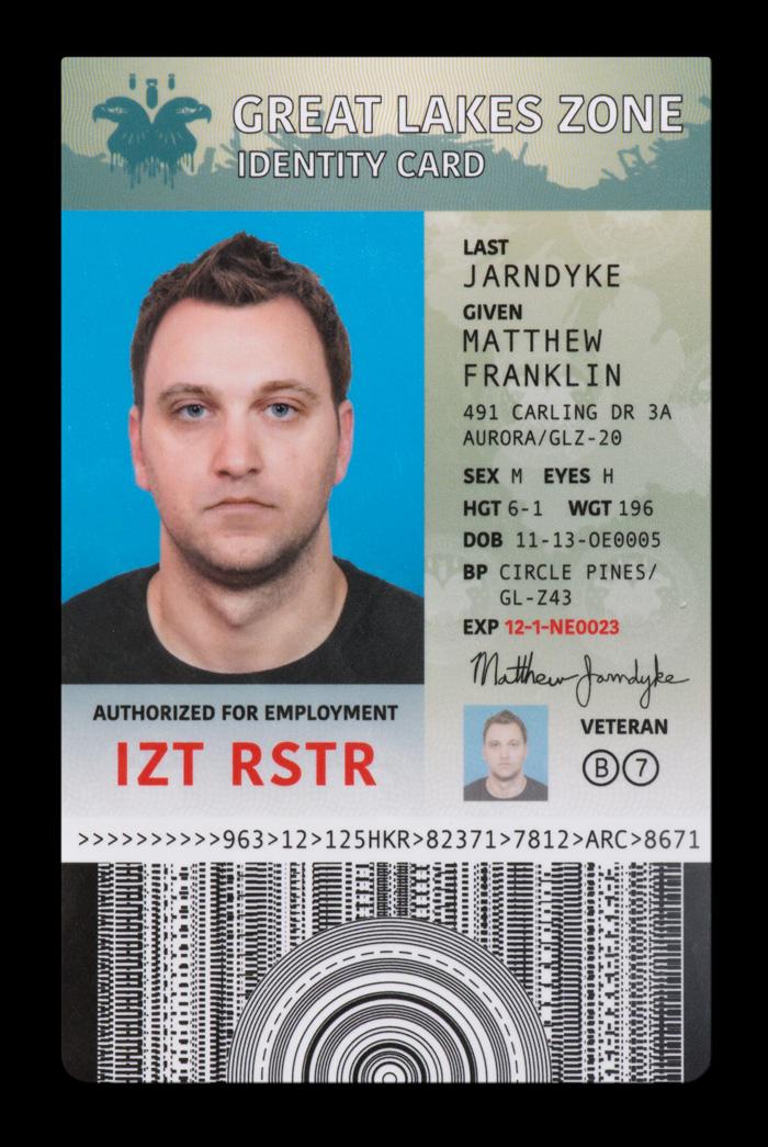 Matthew Jarndyke's identity card.