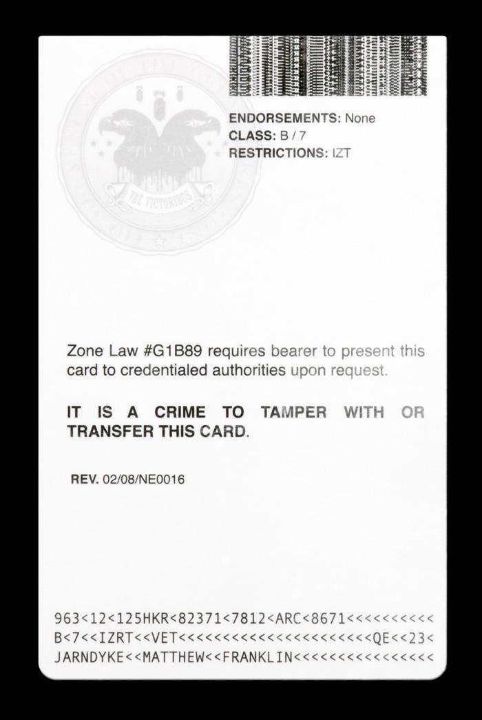 The reverse of Matthew Jarndyke's identity card