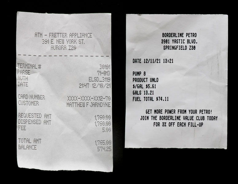 Receipts from an ATM and a gas station found in Matthew Jarndyke's wallet in the Jarndyke Ark