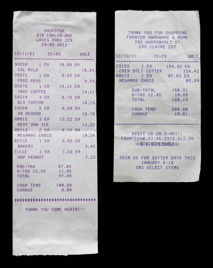 Receipts from grocery store and hardware store found in Matthew Jarndyke's wallet in the Jarndyke Ark