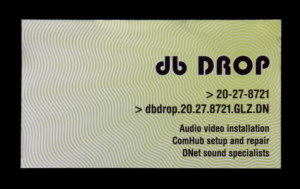 Business card from db Drop found in the Jarndyke Ark