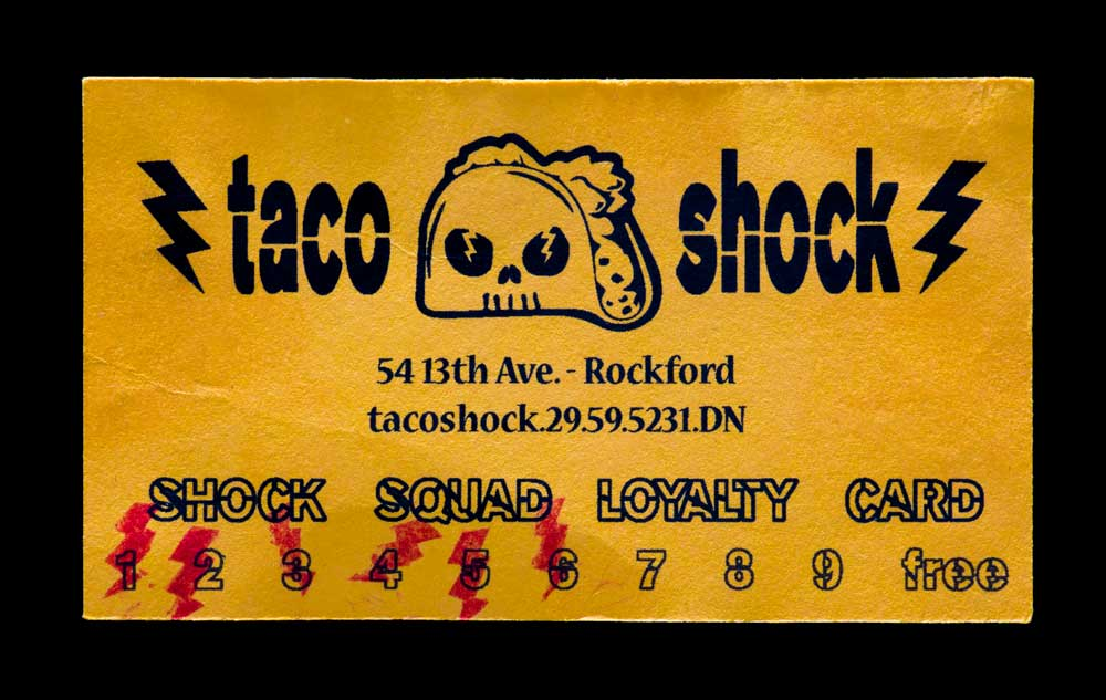 Business card from Taco Shock restaurant found in the Jarndyke Ark