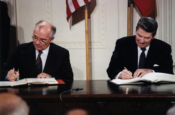 Mikhail Gorbachev and Ronald Reagan sign the Ark Technologies Treaty