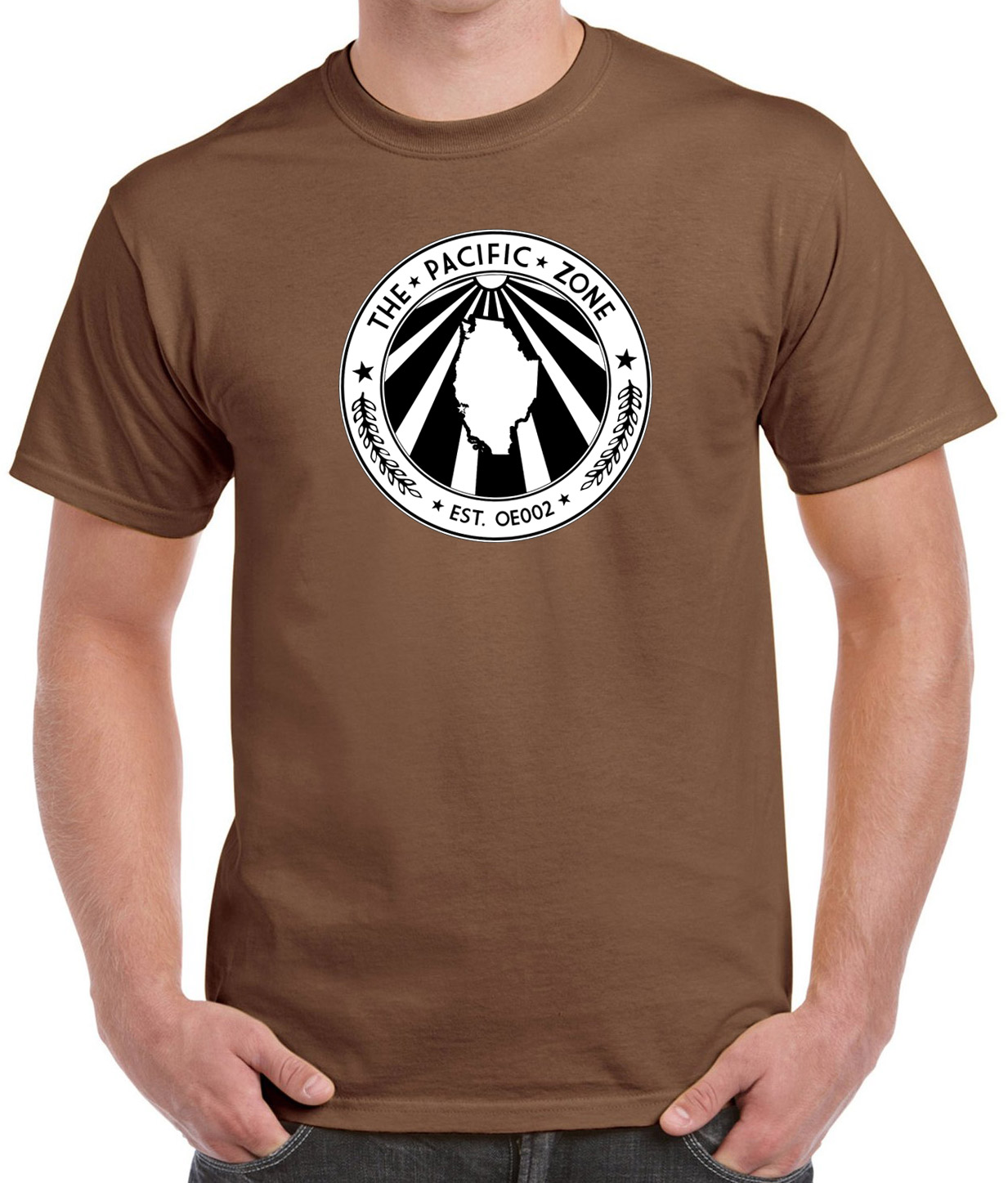 Chestnut brown t-shirt with Pacific Zone crest.